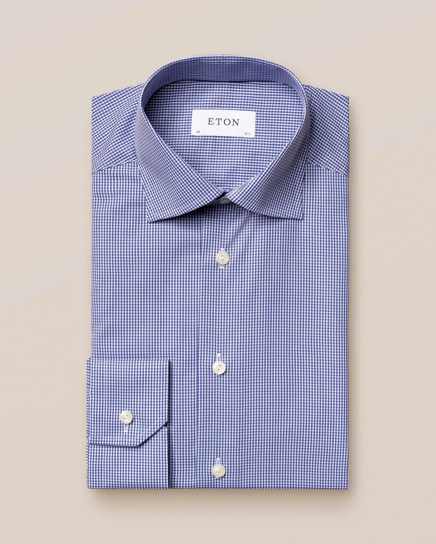 Mellanblå rutig poplinskjorta