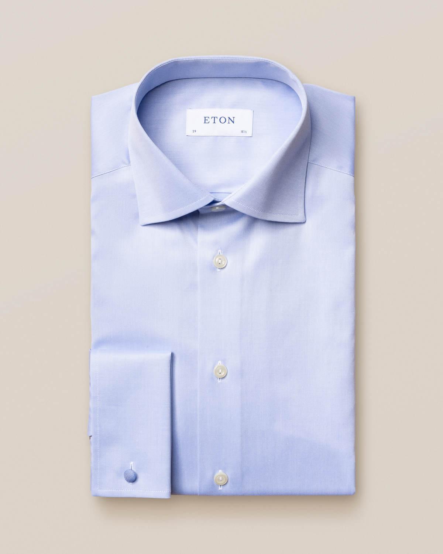 Ljusblå Signature Twill-skjorta med dubbel manschett
