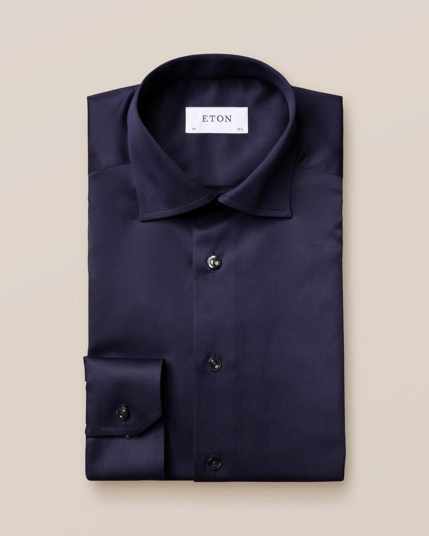 Mörkblå Signature Twill-skjorta