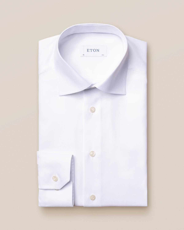Vit skjorta i texturerad twill