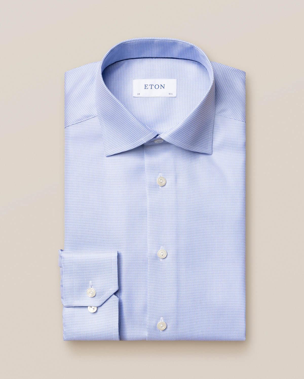 Ljusblå mönstrad twillkjorta
