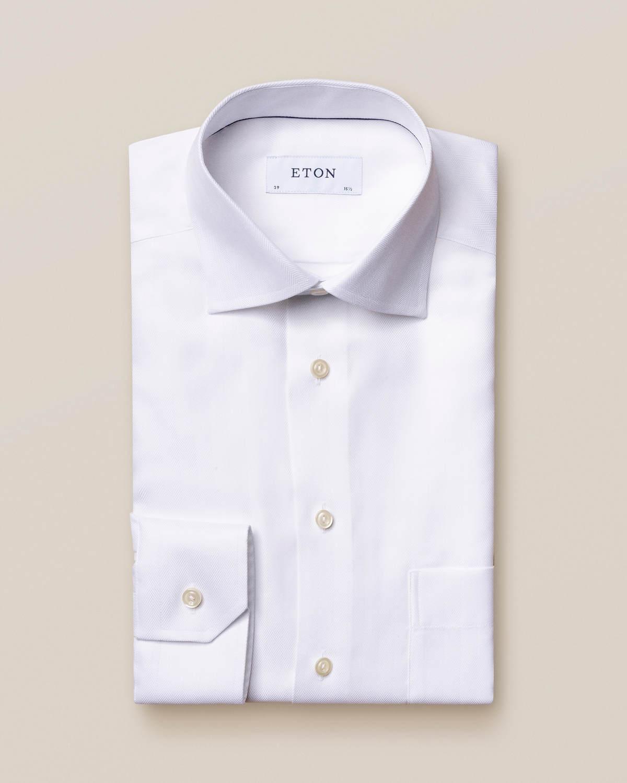 Vit skjorta i Herringbone Twill med dubbel manschett