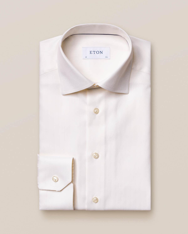 Offwhite skjorta i Herringbone Twill