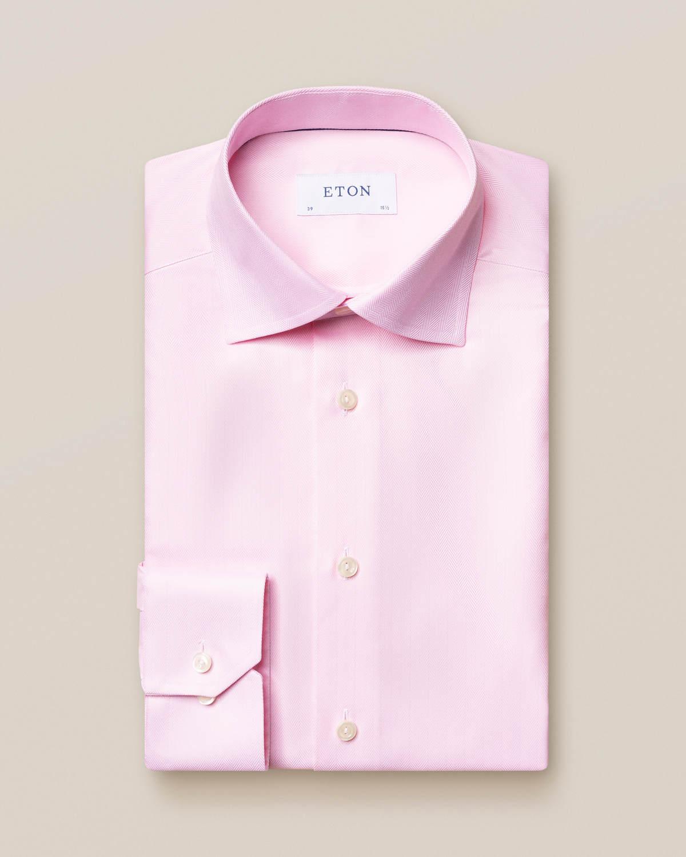 Rosa skjorta i Herringbone Twill