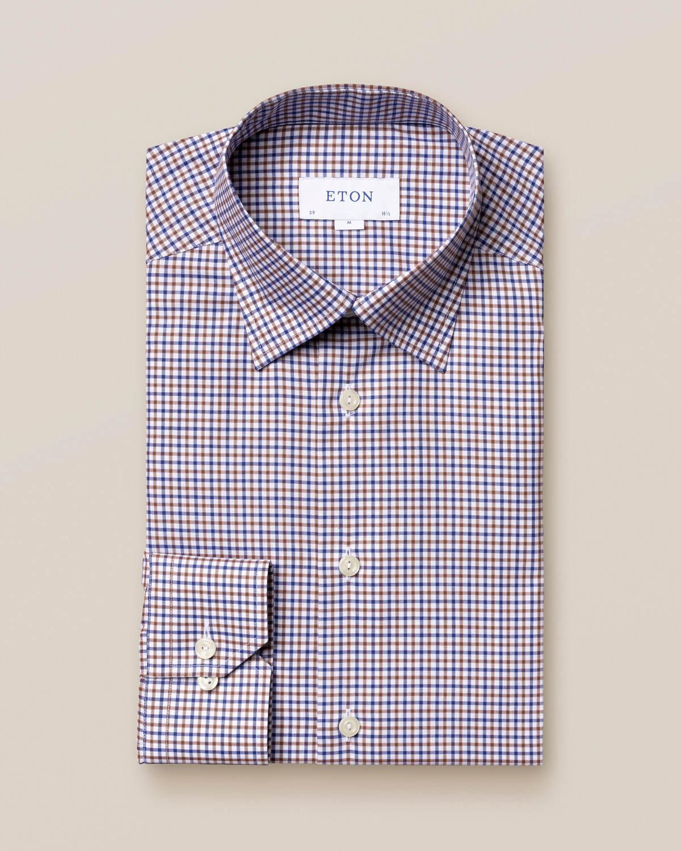 Brun och blå rutig twillskjorta
