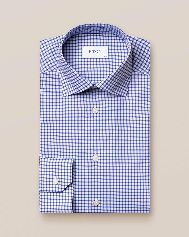 Blå och vit rutig skjorta i twill med stretch