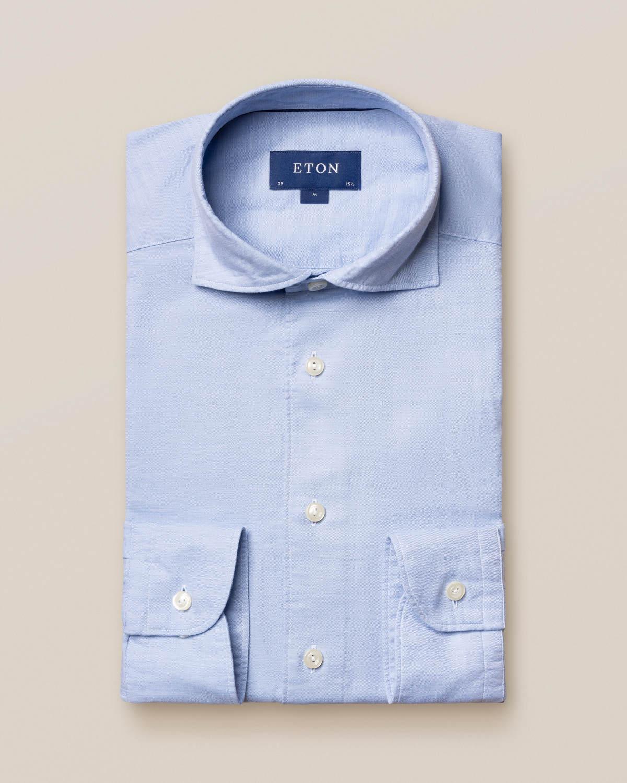 Ljusblå bomulls- och sidenskjorta