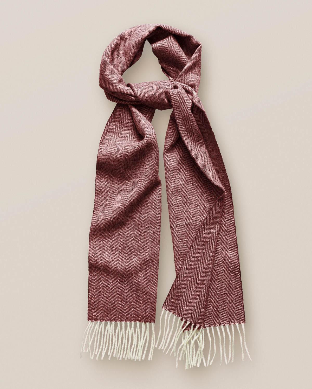 Röd ullscarf med herringbone-mönster