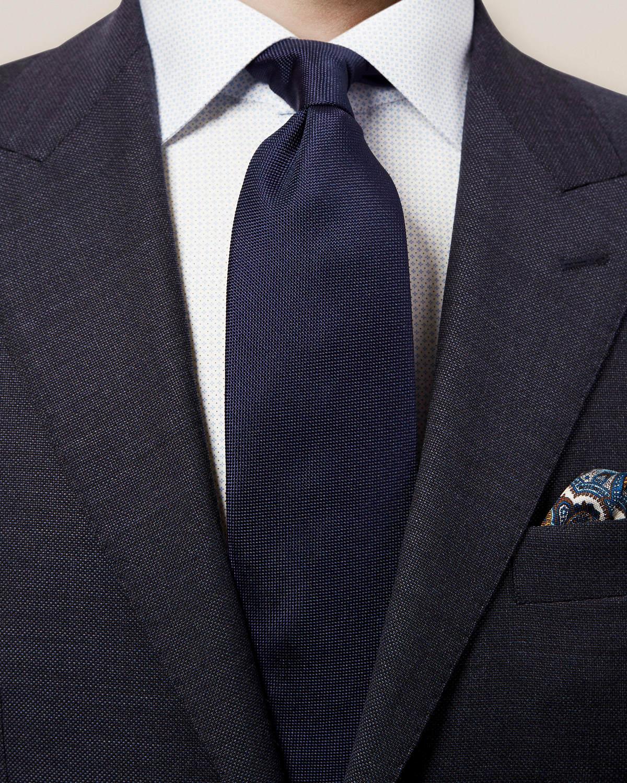 Mörkblå våffelmönstrad slips