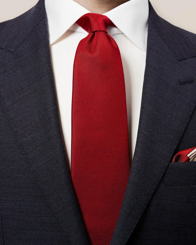 Röd våffelmönstrad slips