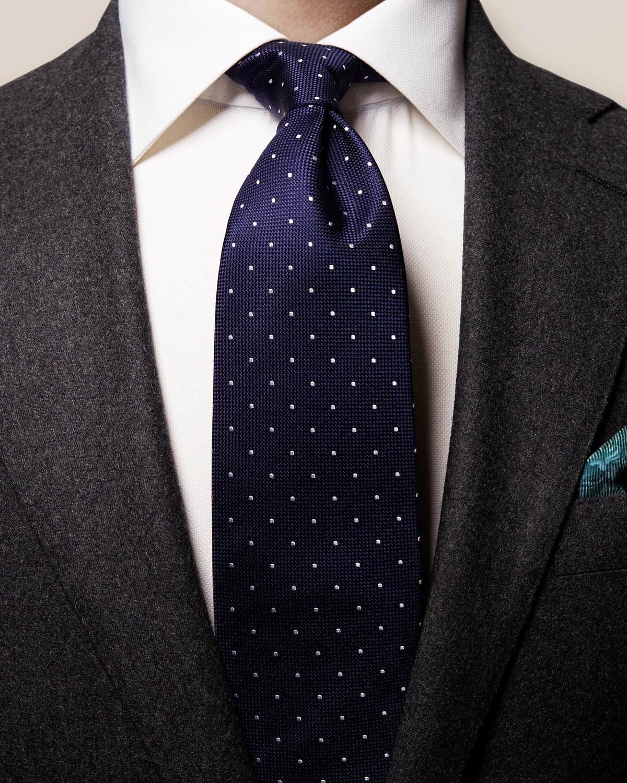 Mörkblå storprickig slips