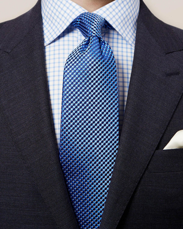 Blå sidenslips med geometriskt mönster