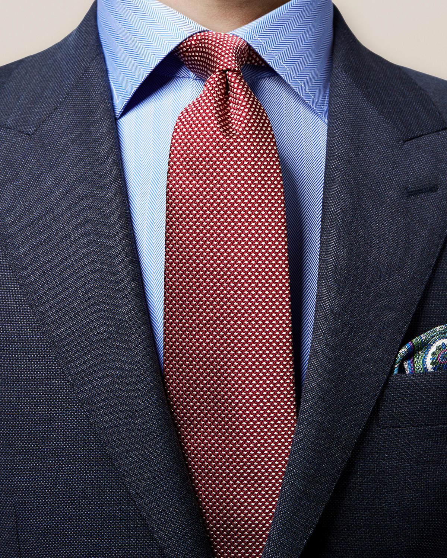 Röd vävd slips med geometriskt mönster
