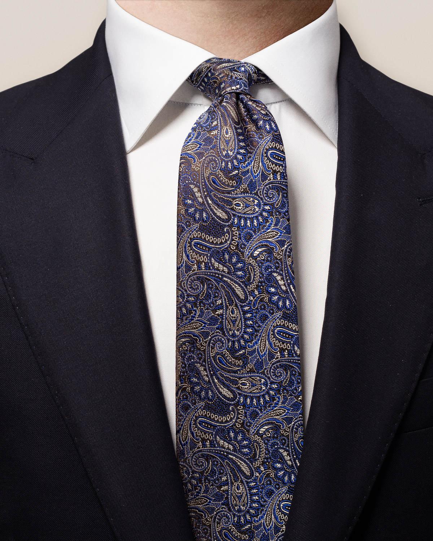 Paisleymönstrad sidenslips i blå nyanser