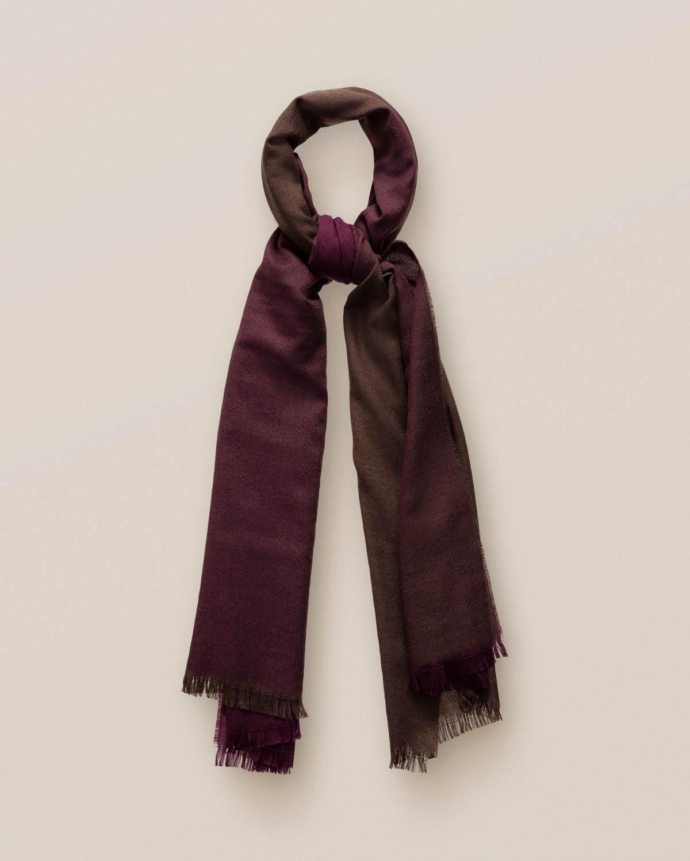 Mörkröd och brun ullscarf med fransar