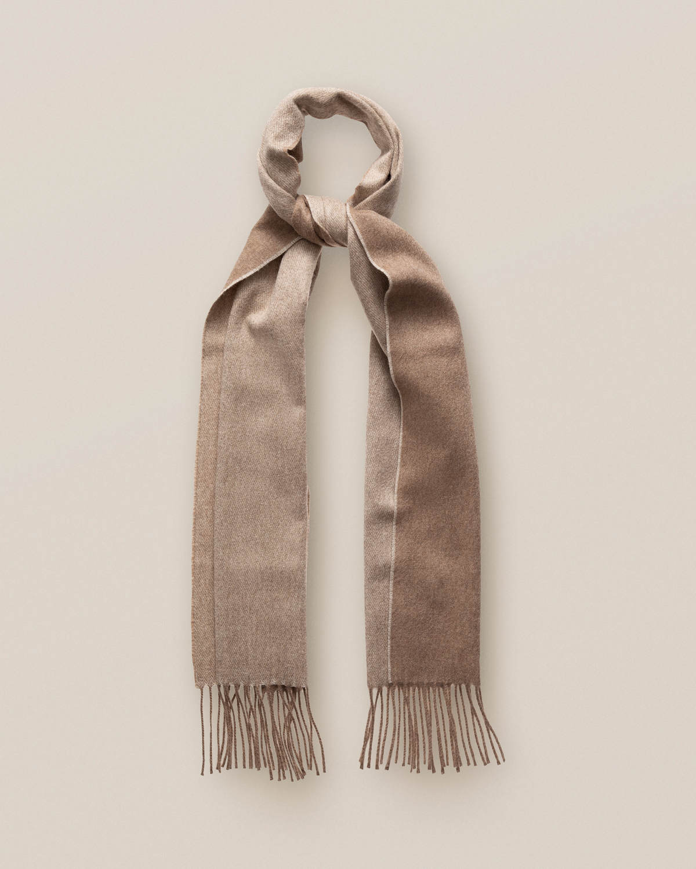 Beige dubbelsidig kashmirscarf