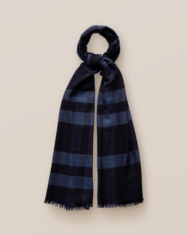 Blå scarf i kashmir och siden