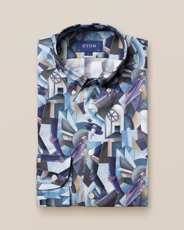 Blå button down-skjorta med print