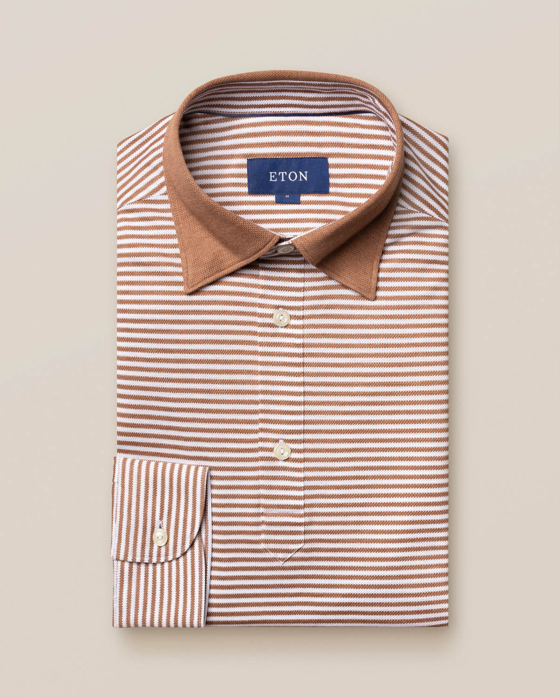 Beige randig pikéskjorta – långärmad