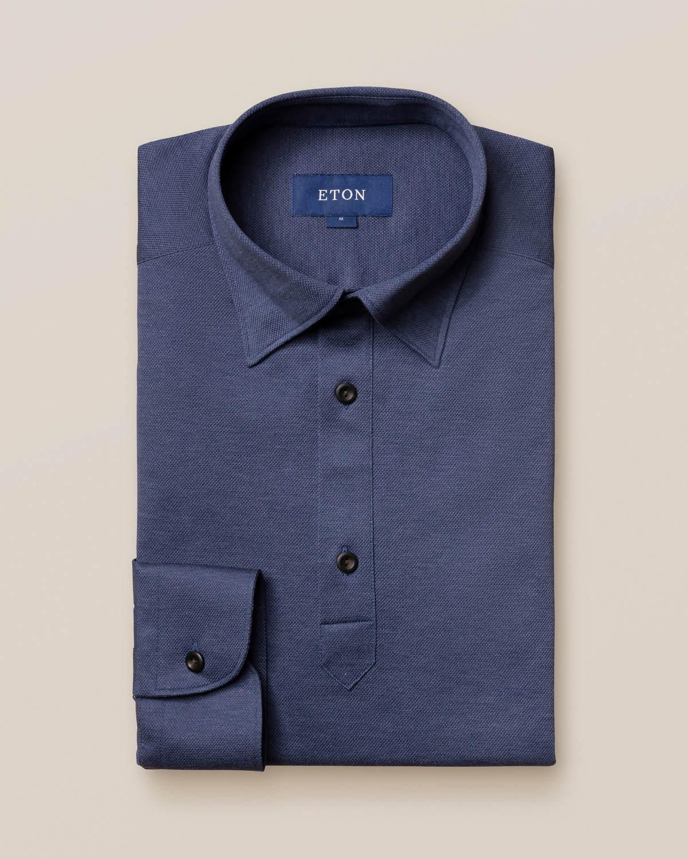 Indigoblå poloskjorta – långärmad