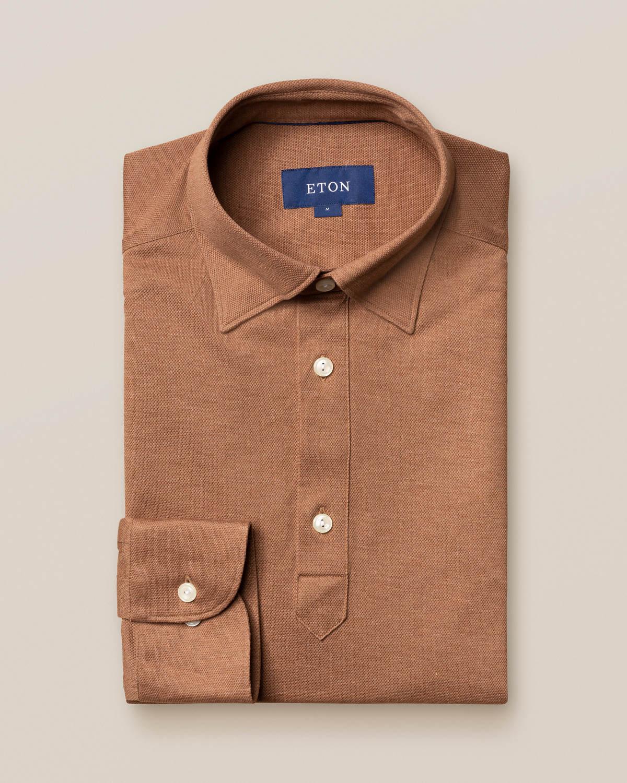 Ljusbrun poloskjorta – långärmad