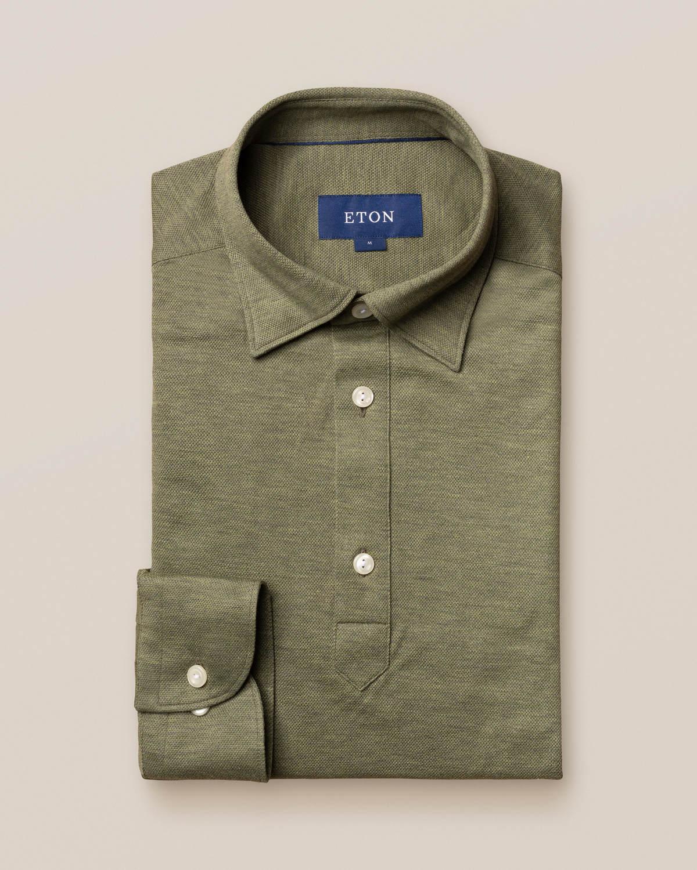 Mellangrön poloskjorta – långärmad