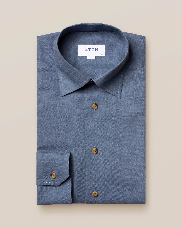 Mörkblå strykfri flanellskjorta
