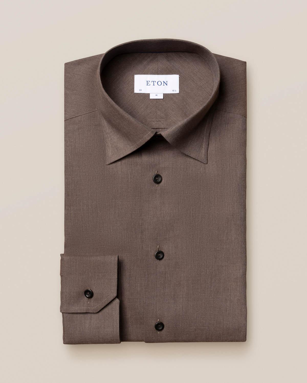 Brun strykfri flanellskjorta