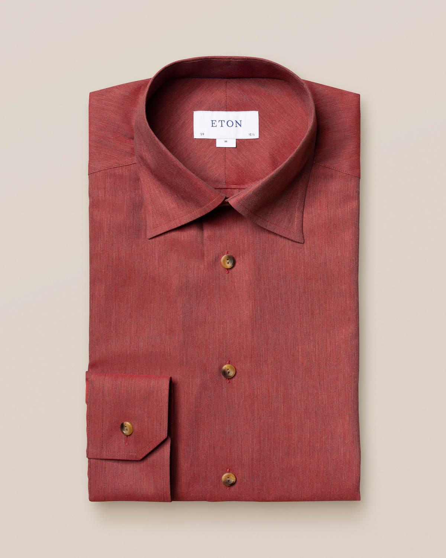 Röd strykfri flanellskjorta