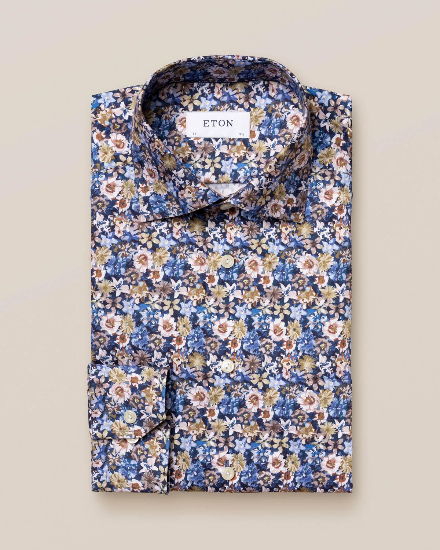 Blå twillskjorta med blommönster