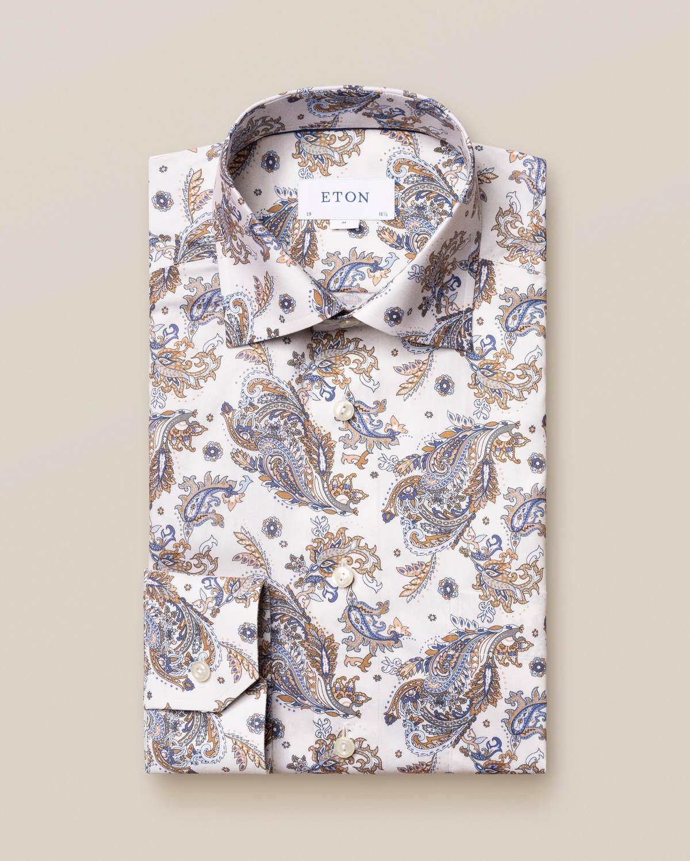 Offwhite paisleymönstrad Signature Twill-skjorta