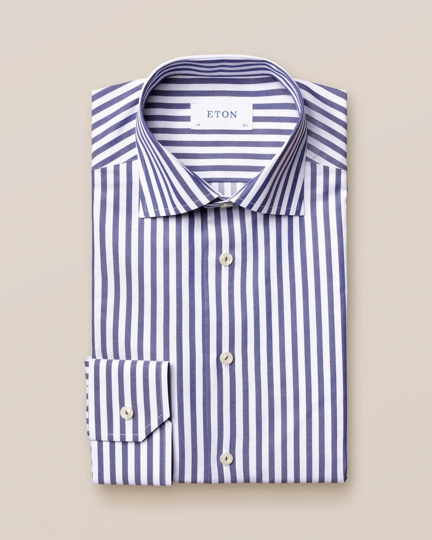 Mörkblå randig Signature Twill-skjorta