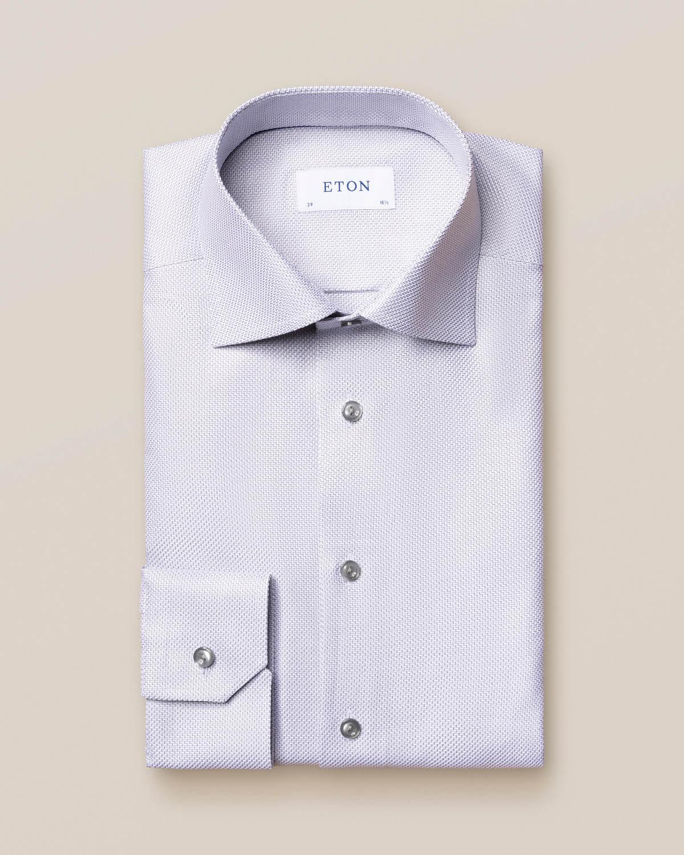 Grå King Twill-skjorta med sicksack-mönster