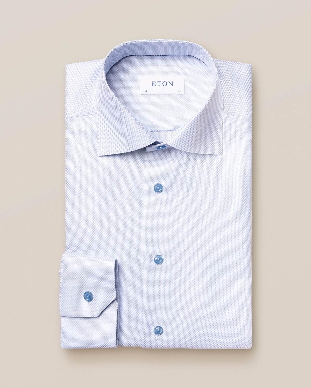Ljusblå King Twill-skjorta med sicksack-mönster