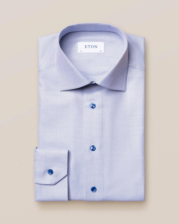 Mörkblå King Twill-skjorta med sicksack-mönster