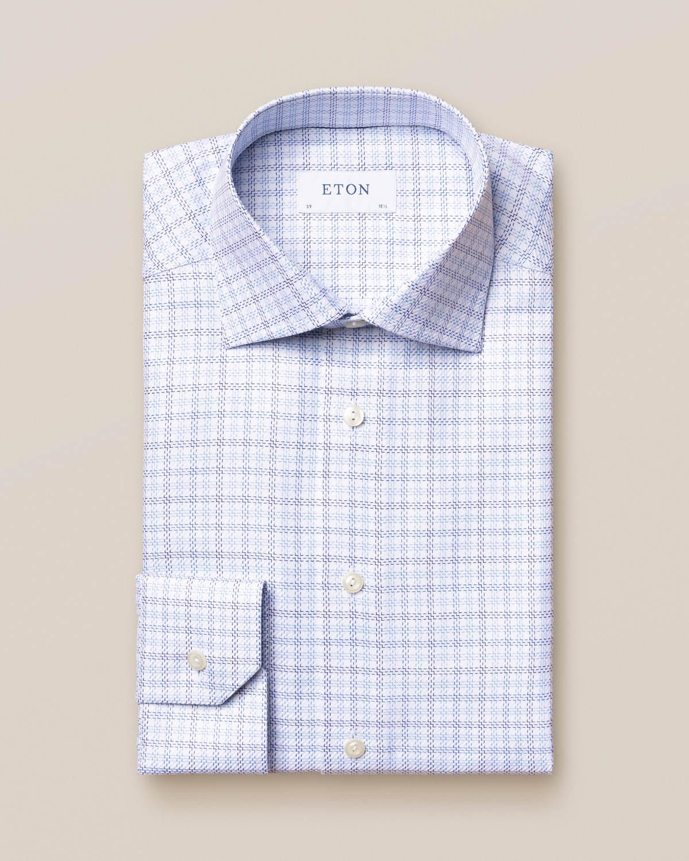 Blå skotskrutig King Twill-skjorta
