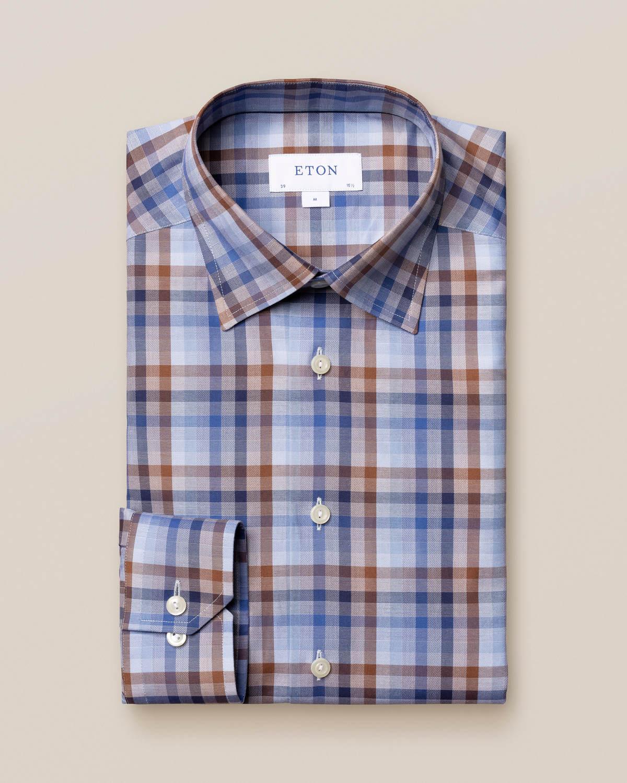 Blå och brun skotskrutig Signature Twill-skjorta