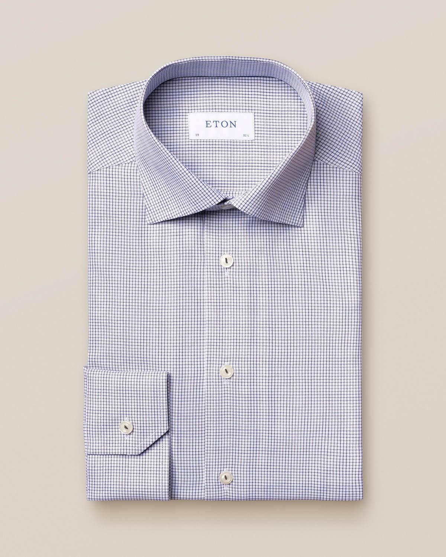 Grå och blå twillskjorta med dubbelt rutmönster