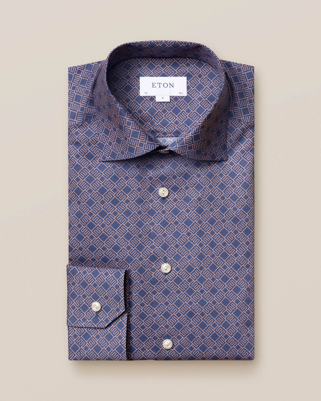 Mörkblå skjorta med dubbelmonogram