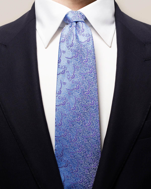 Lila & blå paisleymönstrad sidenslips
