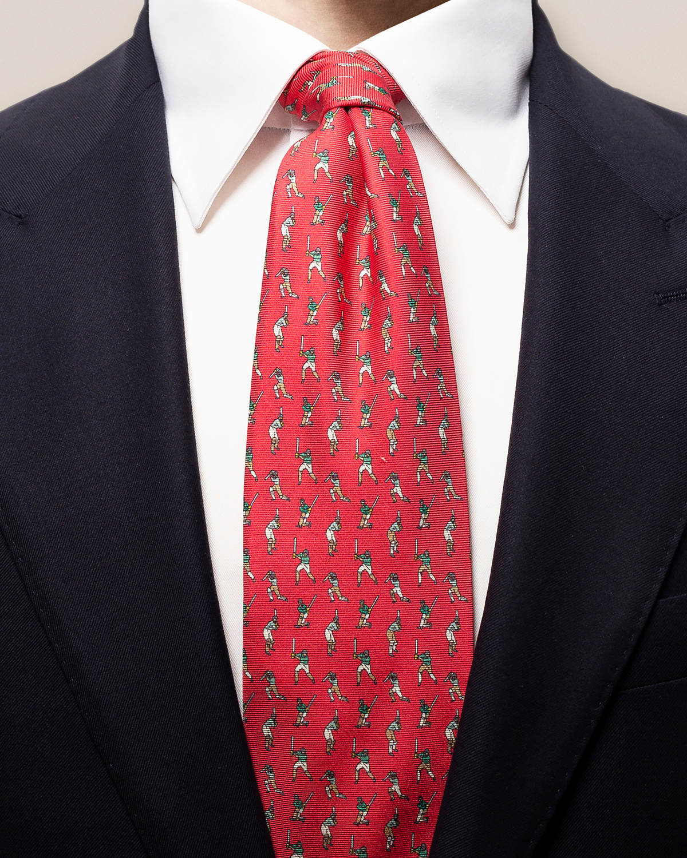 Röd slips med cricketspelare