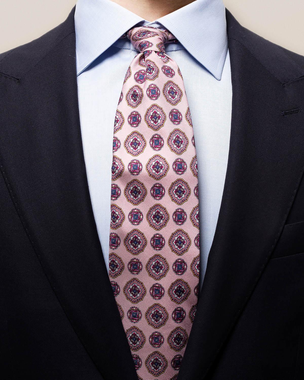 Rosa dubbelmönstrad slips