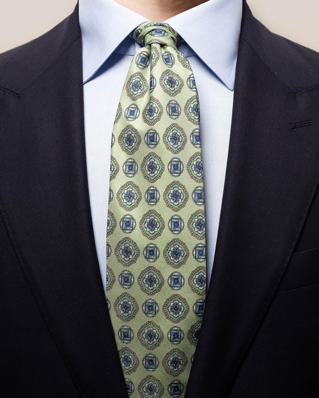Grön dubbelmönstrad slips