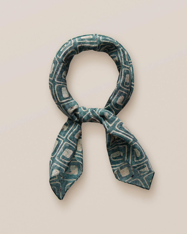 Grön bandana med blocktryck