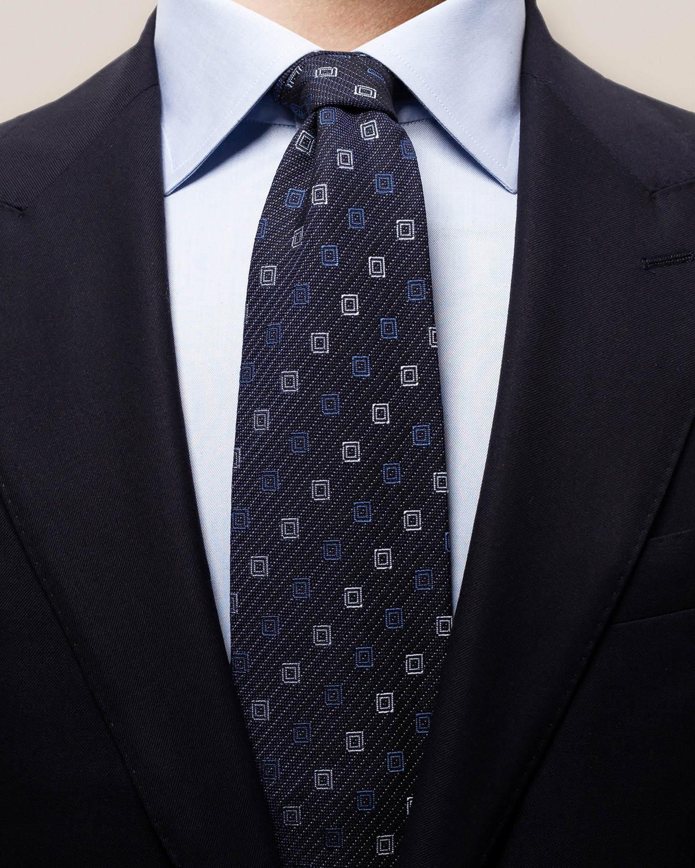Marinblå kritstrecksrandig slips