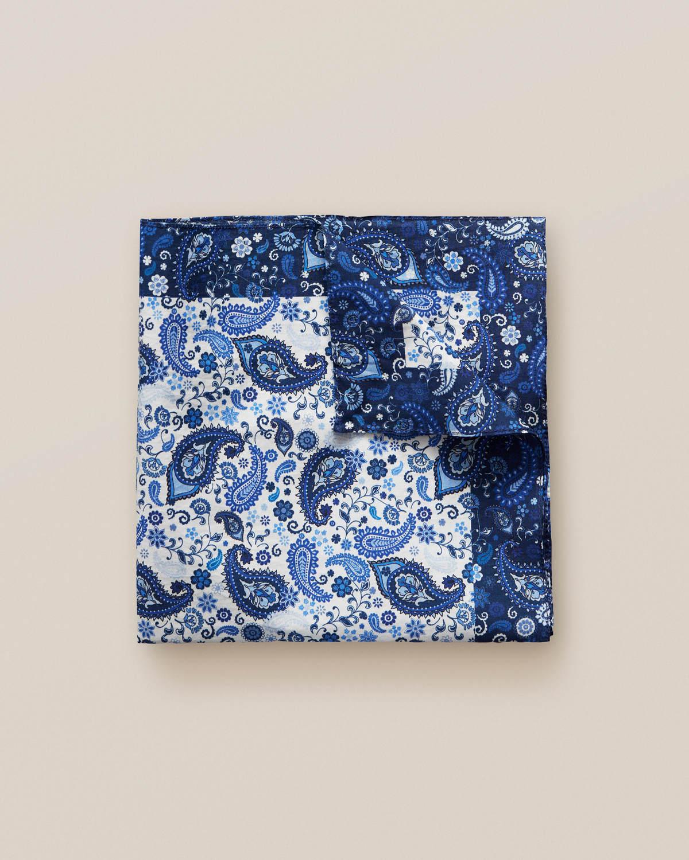 Blå bomullsnäsduk med paisleymönster