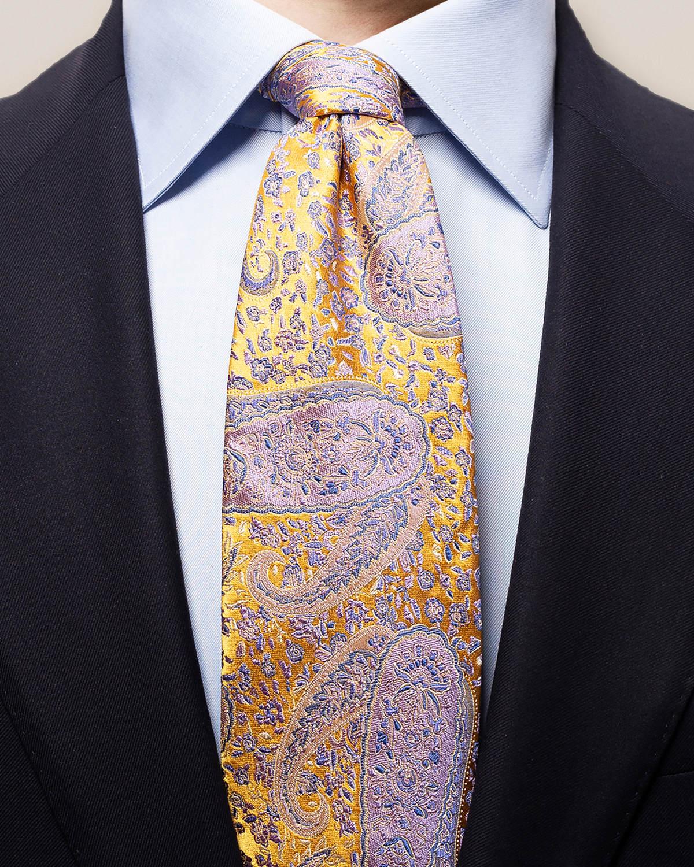 Rosa och gul paisleymönstrad slips