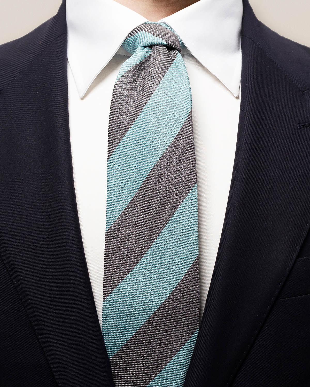Grå & turkos bredrandig slips