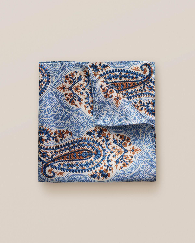 Blå näsduk med stort paisleymönster