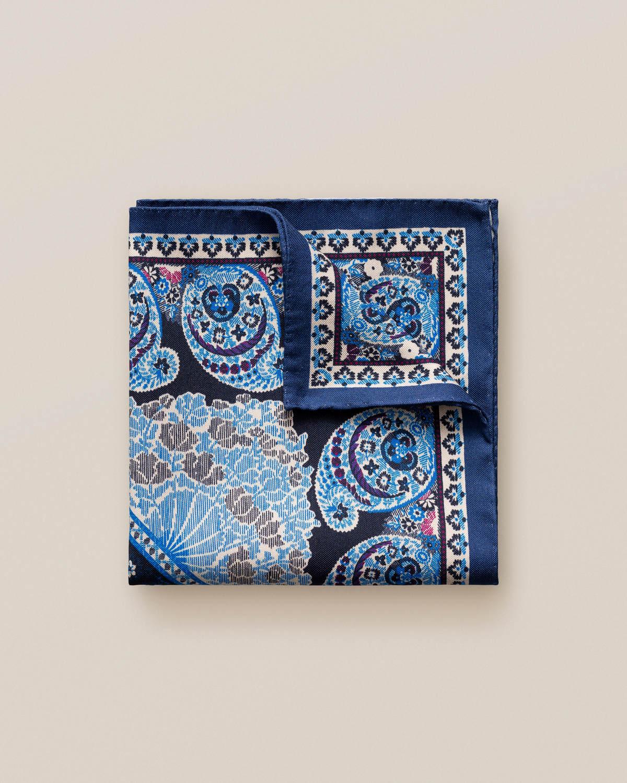 Marinblå paisleymönstrad näsduk i bomull och siden